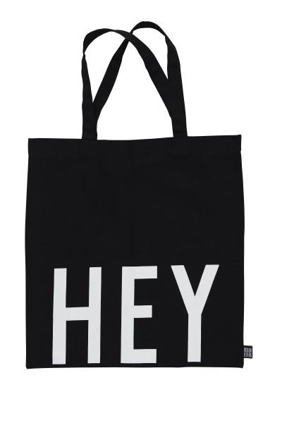 Design Letters, Favorite Tote Bag HEY, Black