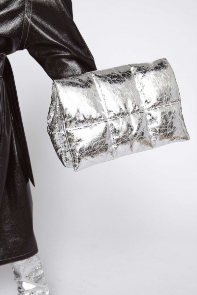 STAND Studio, Wanda Clutch Bag, Faux Leather Cracked Metallic, Silver