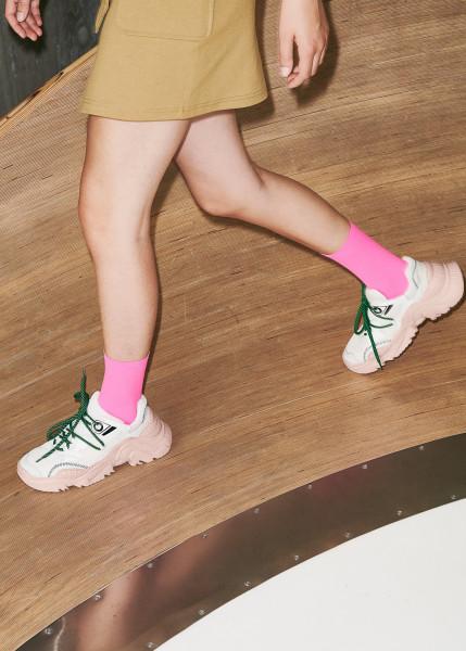 Dear Denier, Line Eco Socks, Neon Pink, One Size