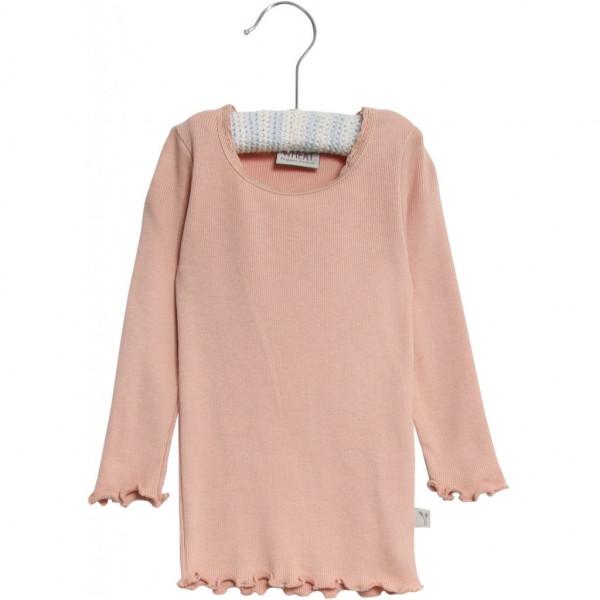 WHEAT, Rib T-Shirt Lace LS, Rose Powder