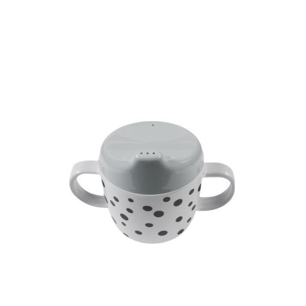 "Done By Deer ""Spout cup"" Happy dots, grey"