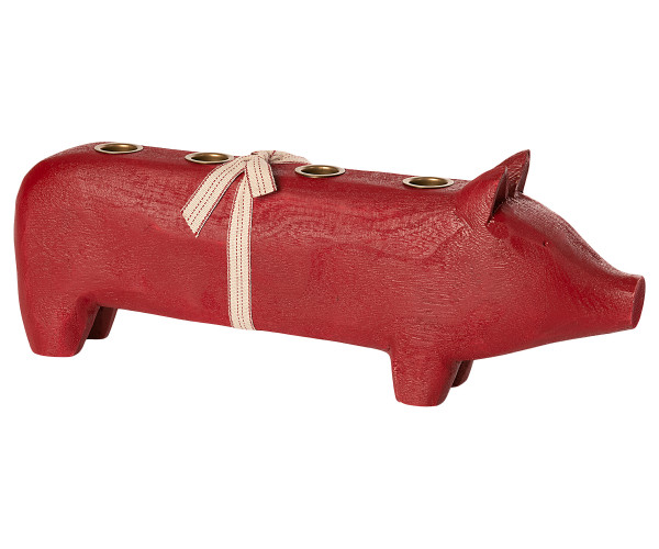 Maileg, Wooden Pig , Large Red