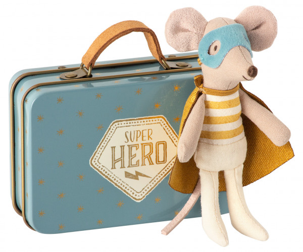 "Maileg ""Superhero mouse"" Little brother in suitcase"