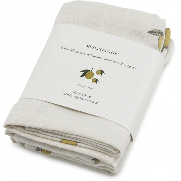 Konges Sløjd, 3 Pack Muslin Cloth, Lemon