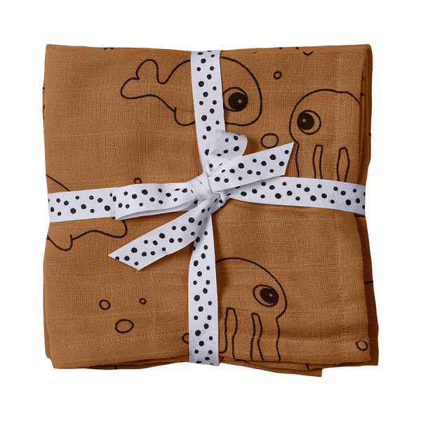 "Done by Deer ""swaddle 2er pack"" sea friends, mustard"