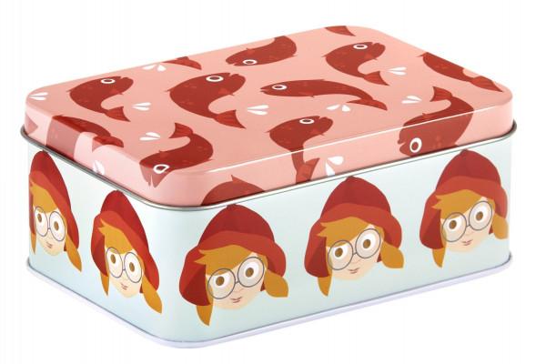 Blafre, rectangular tin box, 14,3x10,2x6 cm, coast red