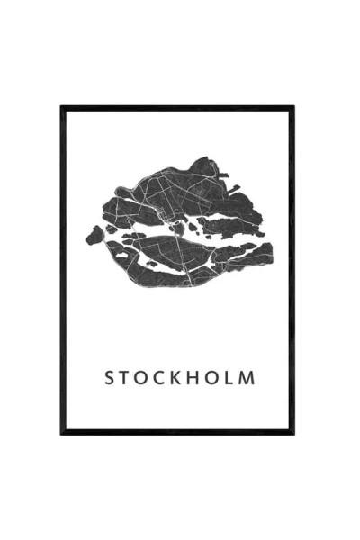 Art in Maps, Stockholm - gerahmter Stadtplan, A3