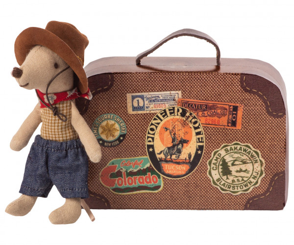 "Maileg, ""Cowboy Mouse in Suitcase"""