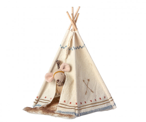 """Maileg """"Little feather w. tent"""" Little Sister Mouse"""