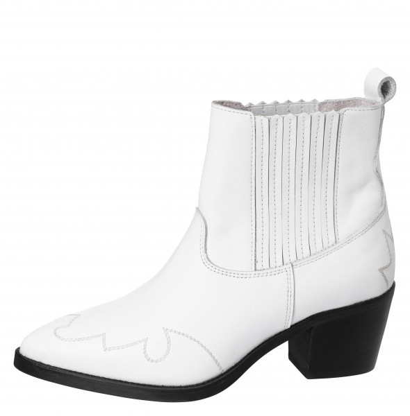 YAYA, Leather Cowboy Ankle Boot, White