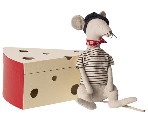 Maileg, Rat in cheese box - Light grey