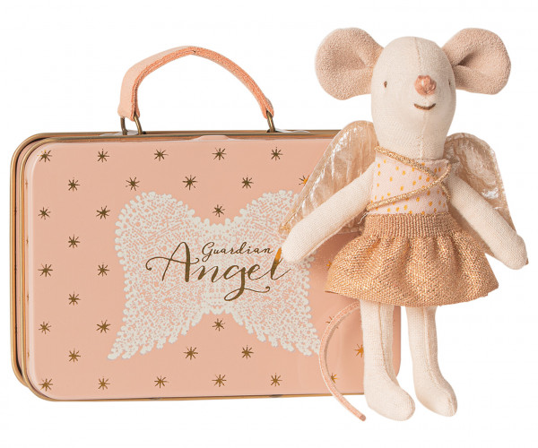 "Maileg ""Guardian angel in suitcase"" Little sister mouse"
