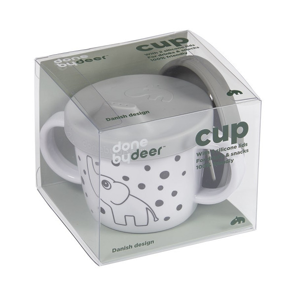 "Done By Deer ""Silicone spout/snack cup"" Elphee, grey"