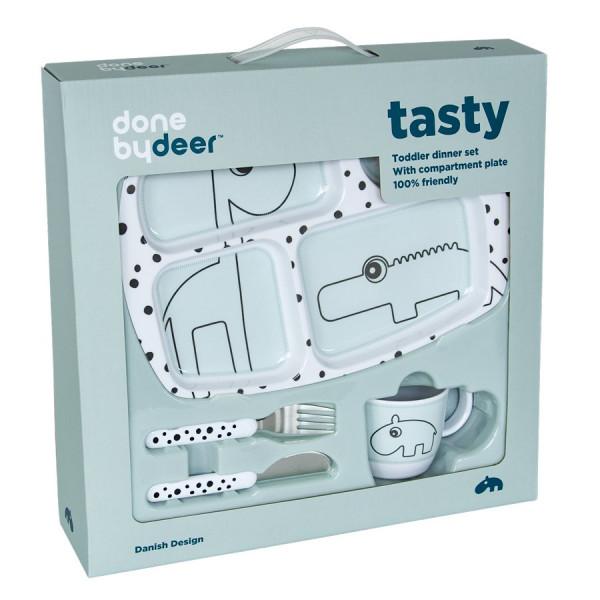 "Done By Deer ""Toddler dinner set"" Happy dots, blue"