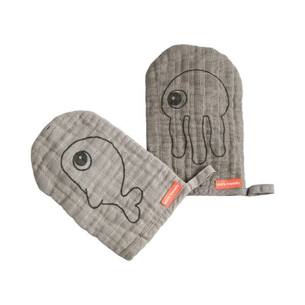 Done by Deer, Wash cloth, Sea friends, 2er pack, grey