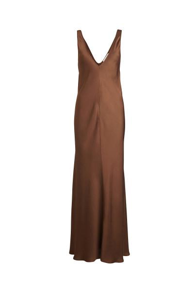Rabens Saloner Solid Sheen Bias Dress, Nicoletta, Bean