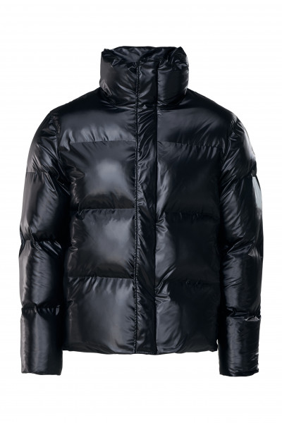 Rains, Boxy Puffer Jacket, Shiny Black