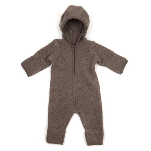 Huttelihut, EMMIE Babysuit No Ears Wool fleece, Brown