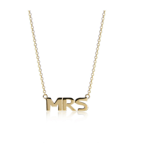 "Jeberg, ""MRS"", Necklace, Gold"