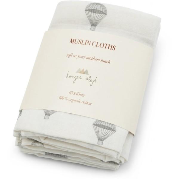 Konges Sløjd, 3 Pack Muslin Cloth, Rosaraie Red