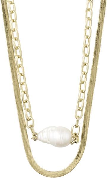 Halskette Gracefulness vergoldet Weiß
