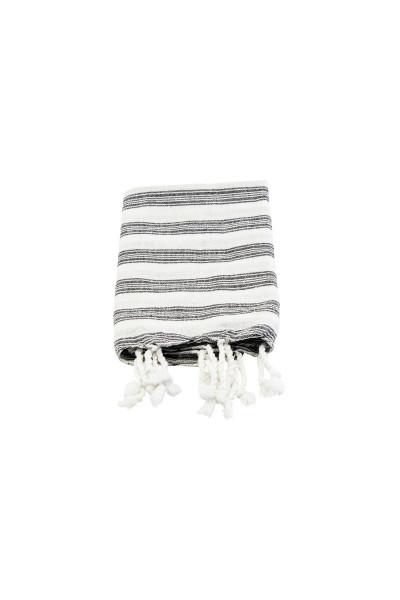 Meraki, Hammam-Handtuch, Weiß mit schwarzen Streifen, 90x45 cm
