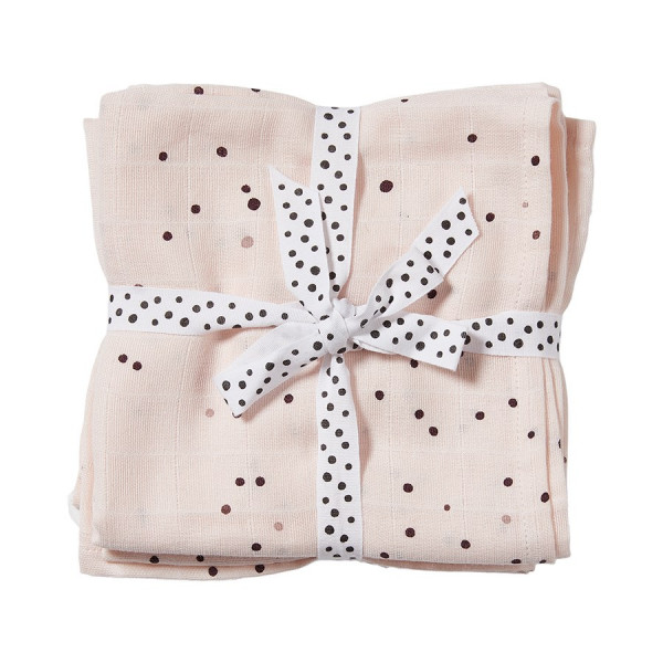 """Done By Deer """"Burp cloth, 2-pack"""" Dreamy dots, powder"""