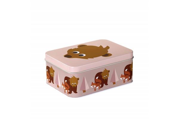 Bla fre, rectangular tin box 14,3x10,2x6 cm, bear