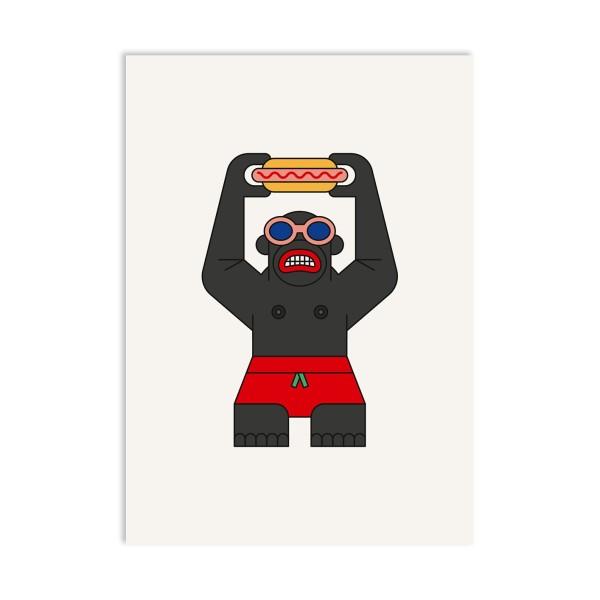 red fries, Postcard, Monkey