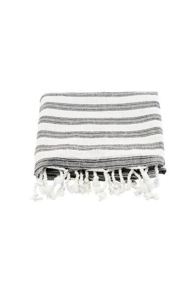Meraki, Hammam-Handtuch, Weiß mit schwarzen Streifen, 180x100cm
