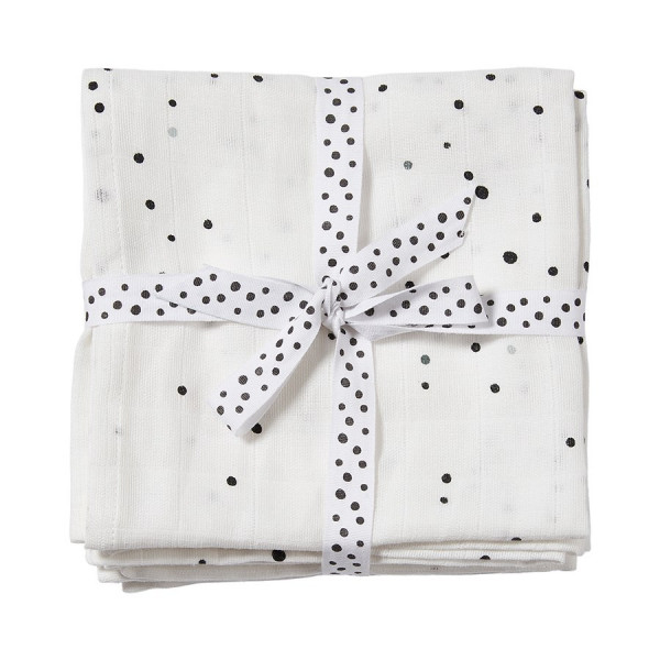 "Done By Deer ""Swaddle, 2-pack"" Dreamy dots, white"