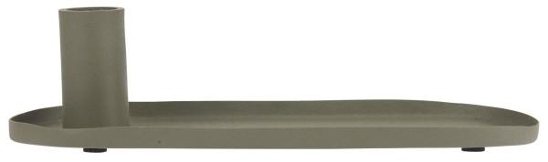 Kerzenhalter für Stabkerze oval staubig grün