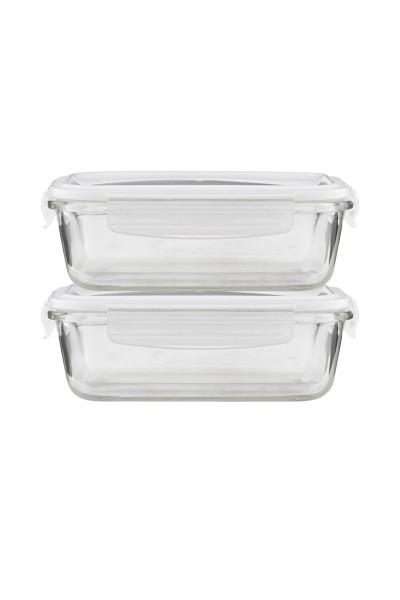 "House Doctor, Frischhalteboxen aus Glas ""Square"", 2er Set"
