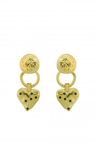 Anna+Nina, Heart Earring, Gold