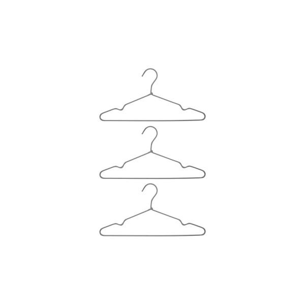 Drei Kleiderbügel, Wire, Hellgrau