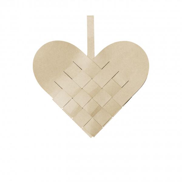 Broste Copenhagen, Deko Heart Papier, Natural Brown