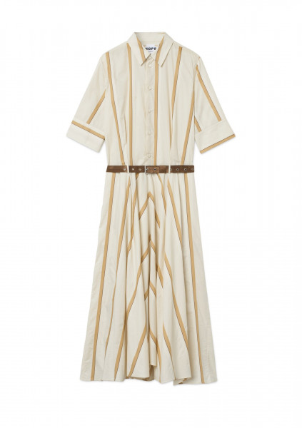 Hope Stockholm, Clock Dress, Beige Stripe