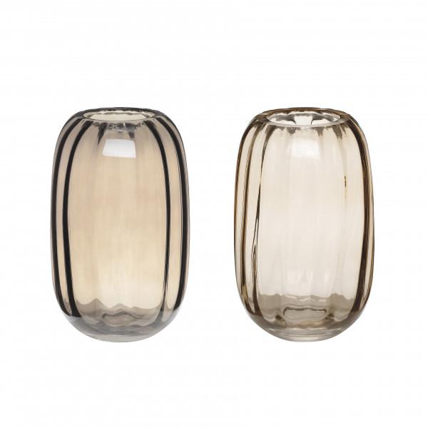 Hübsch, Vase, Glass, braun, 2er Set