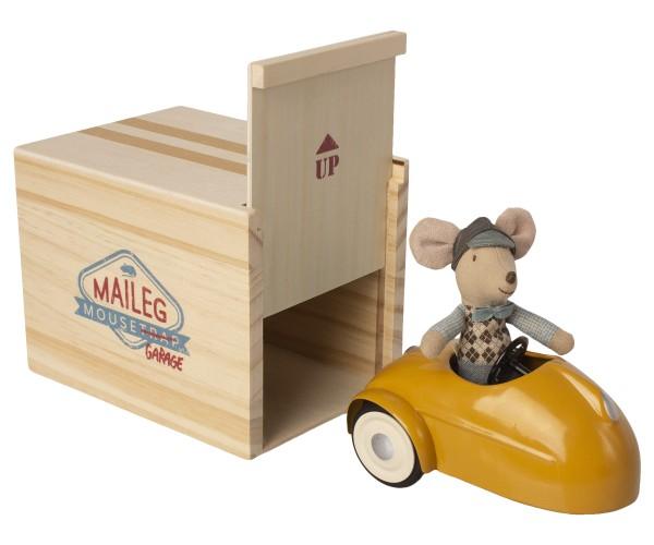 Maileg, Mouse car w. garage, yellow
