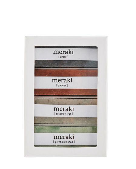 "Meraki ""Soap Gift Box"" Papaya, Green Clay, Sesame Scrub"