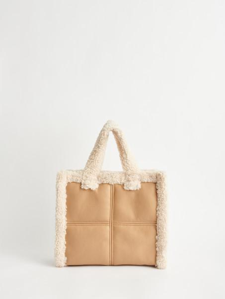 Stand Studio, Lolita Shearling Bag: Faux Shearling, Beige/Off White