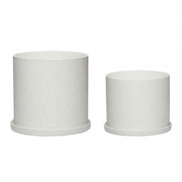 Hübsch, Topf aus Keramik, weiß, Set