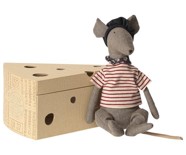 Maileg, Rat in cheese box - Grey