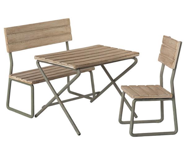 Maileg, Garten Set, Tisch, Stühle & Bank