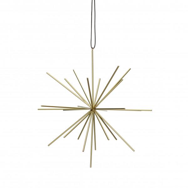 Hübsch Hübsch, Stern m/Lederband, metall, gold, ø27cm