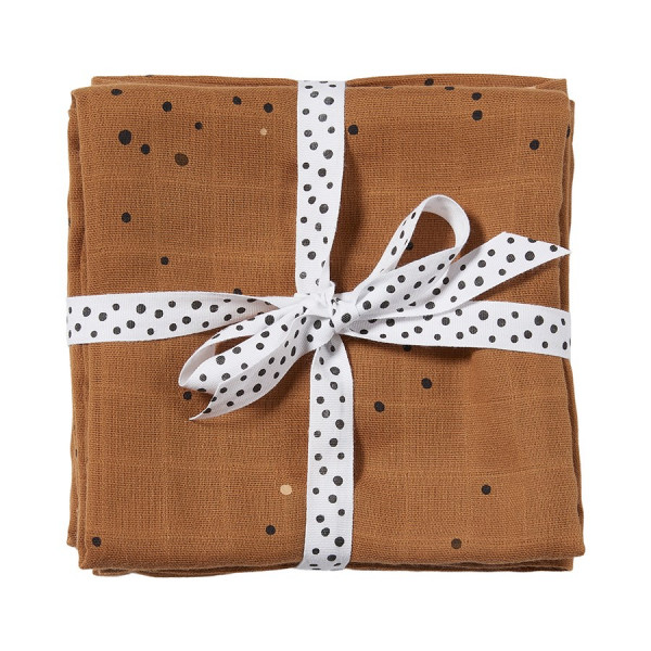 """Done By Deer """"Burp cloth, 2-pack"""" Dreamy dots, mustard"""
