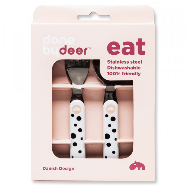"""Done By Deer """"Spoon & Fork Set"""" Happy Dots, powder"""