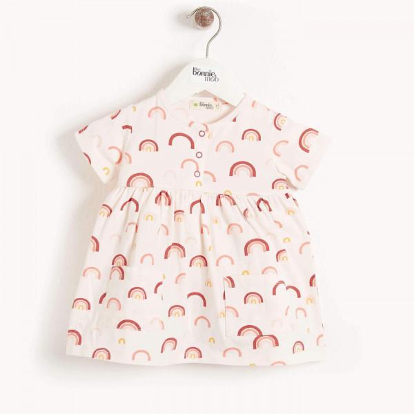 the Bonnie mob, Carmel Printed Dress with pockets, Peach Rainbow 06-12M