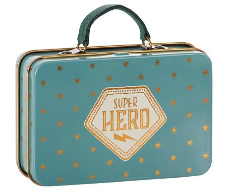 Maileg, Metal Suitcase, Blue, Gold stars