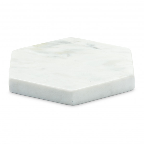 YAYA, Marble Hexagon Coaster, white